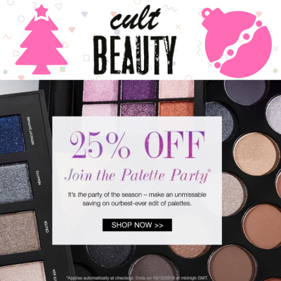 25% off Palettes at Cult Beauty